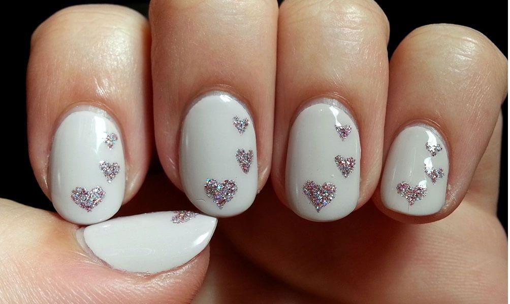 Glittery Heart Nail Art